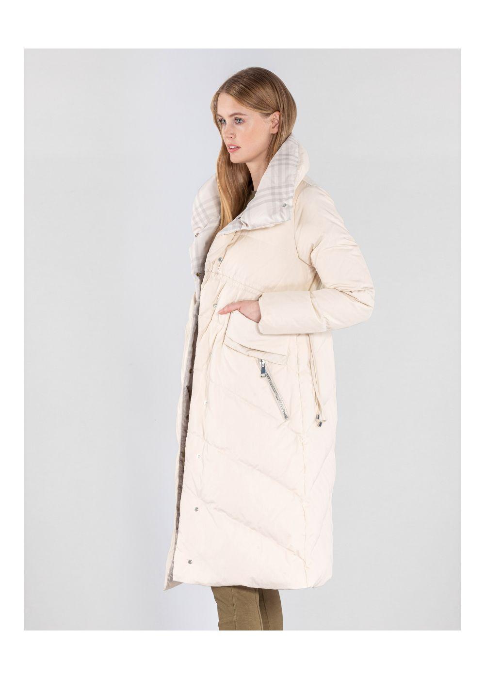 Długa beżowa kurtka damska z puchem KURDT-0275-81(Z20)