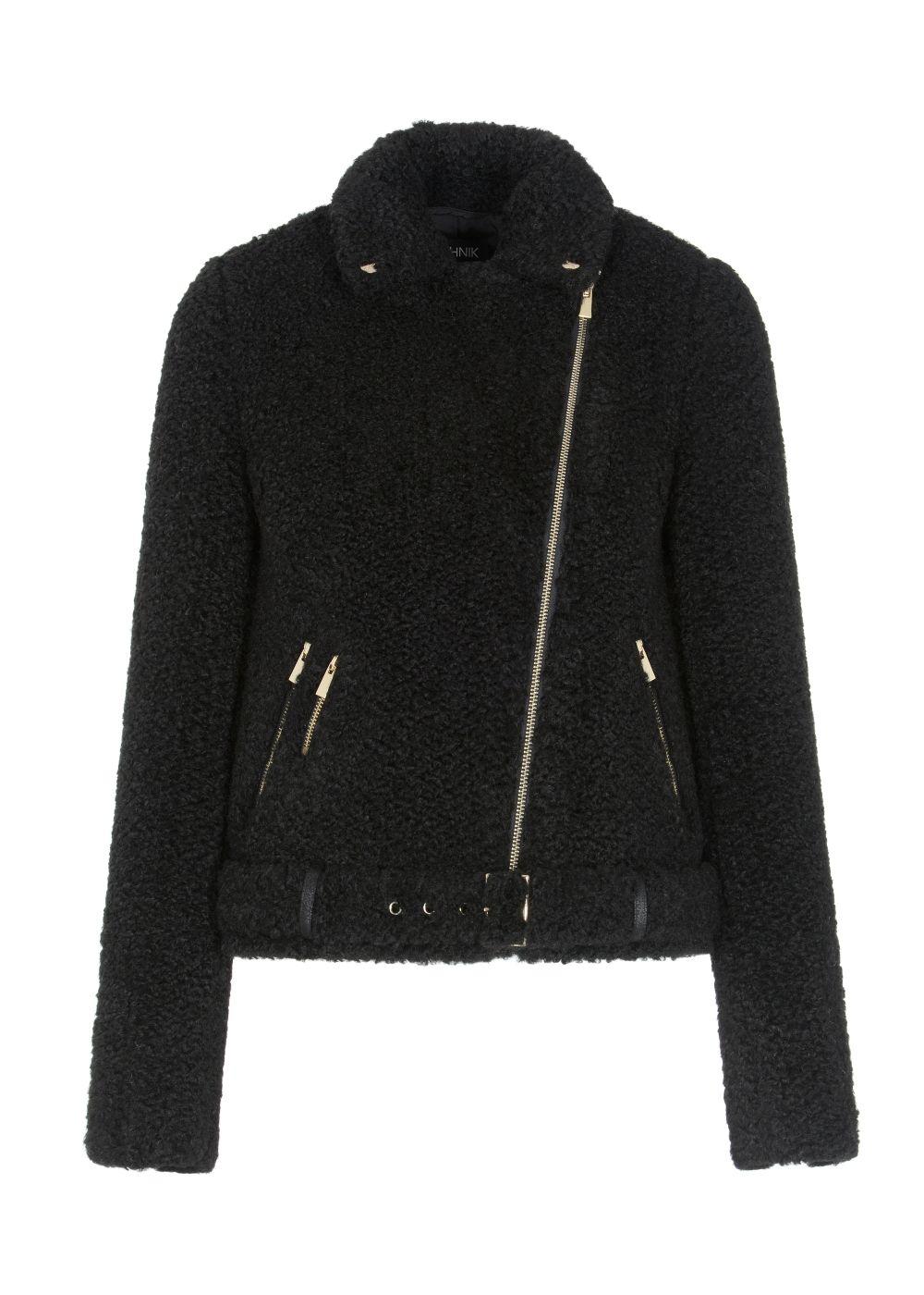 Czarne futerko damskie o kroju ramoneski FUTDT-0038-99(Z20)