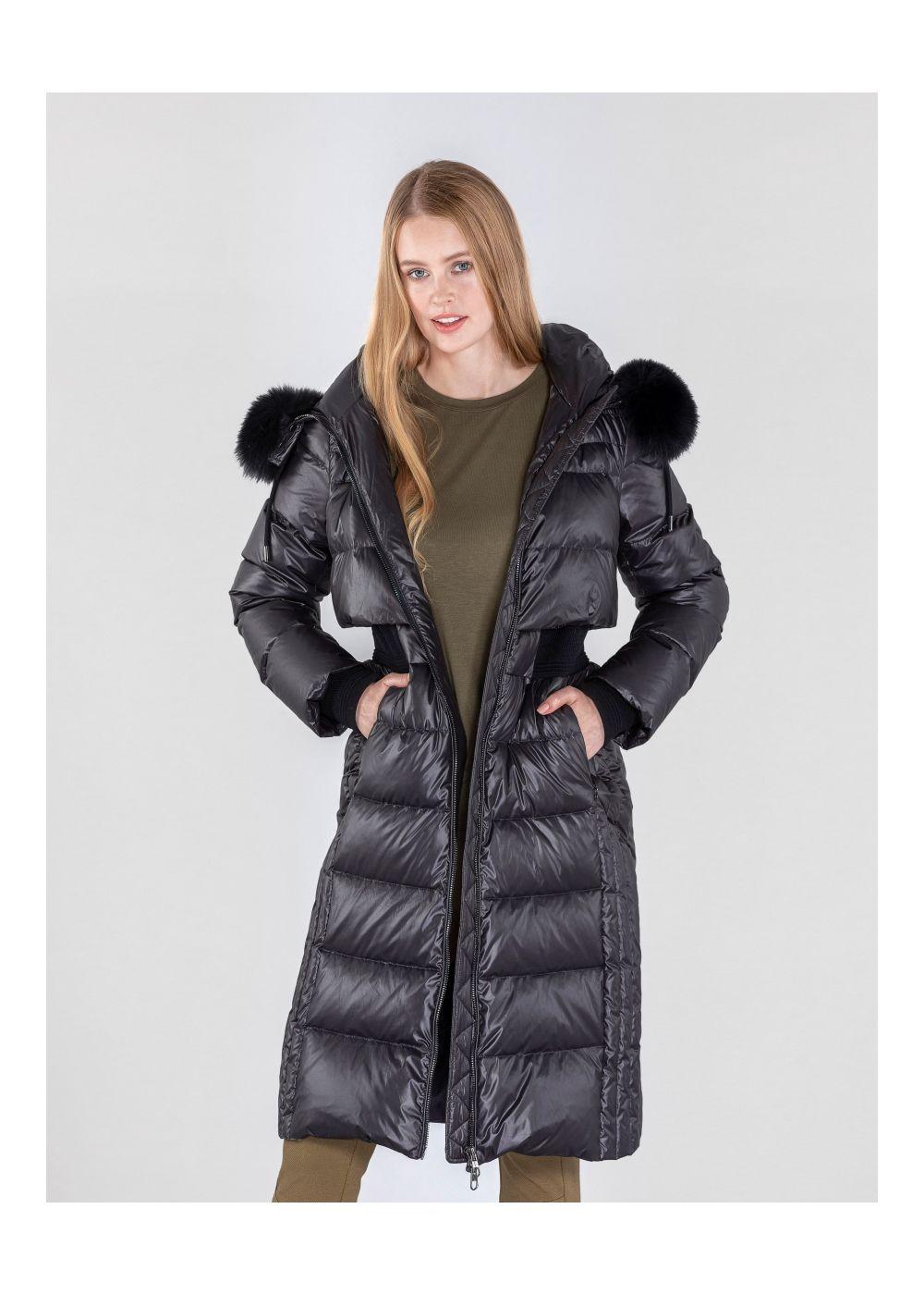 Długa pikowana kurtka damska z kapturem KURDT-0270-99(Z20)