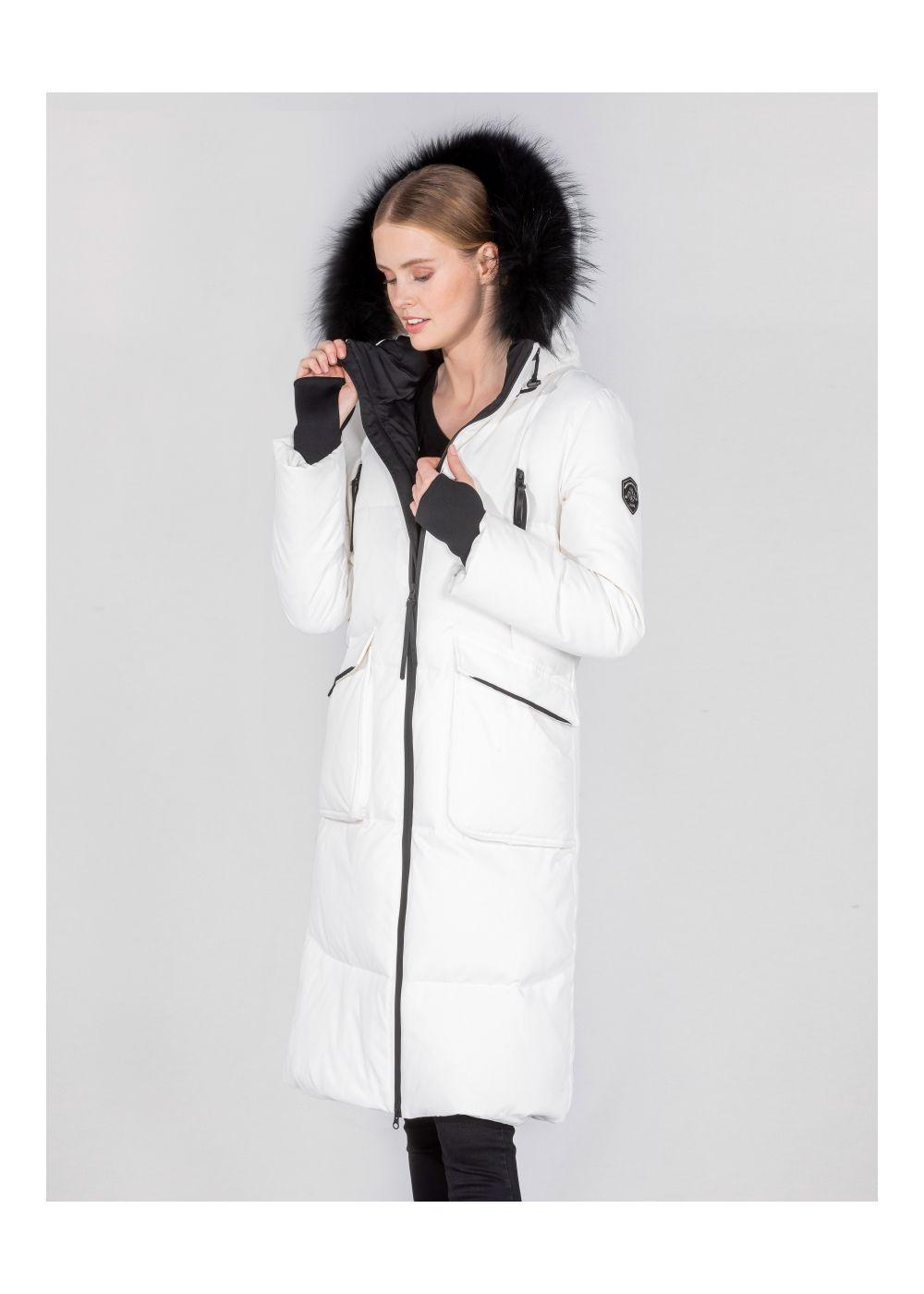 Biała zimowa parka damska z kapturem KURDT-0274-11(Z20)