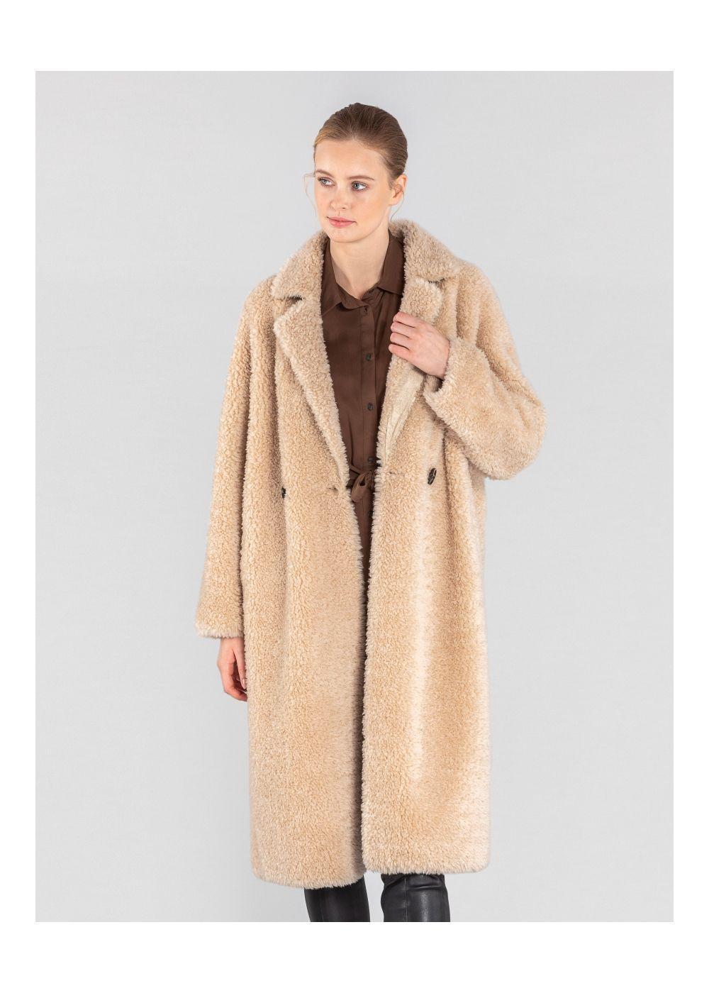 Długie futro damskie w beżowym kolorze FUTDT-0035-81(Z20)