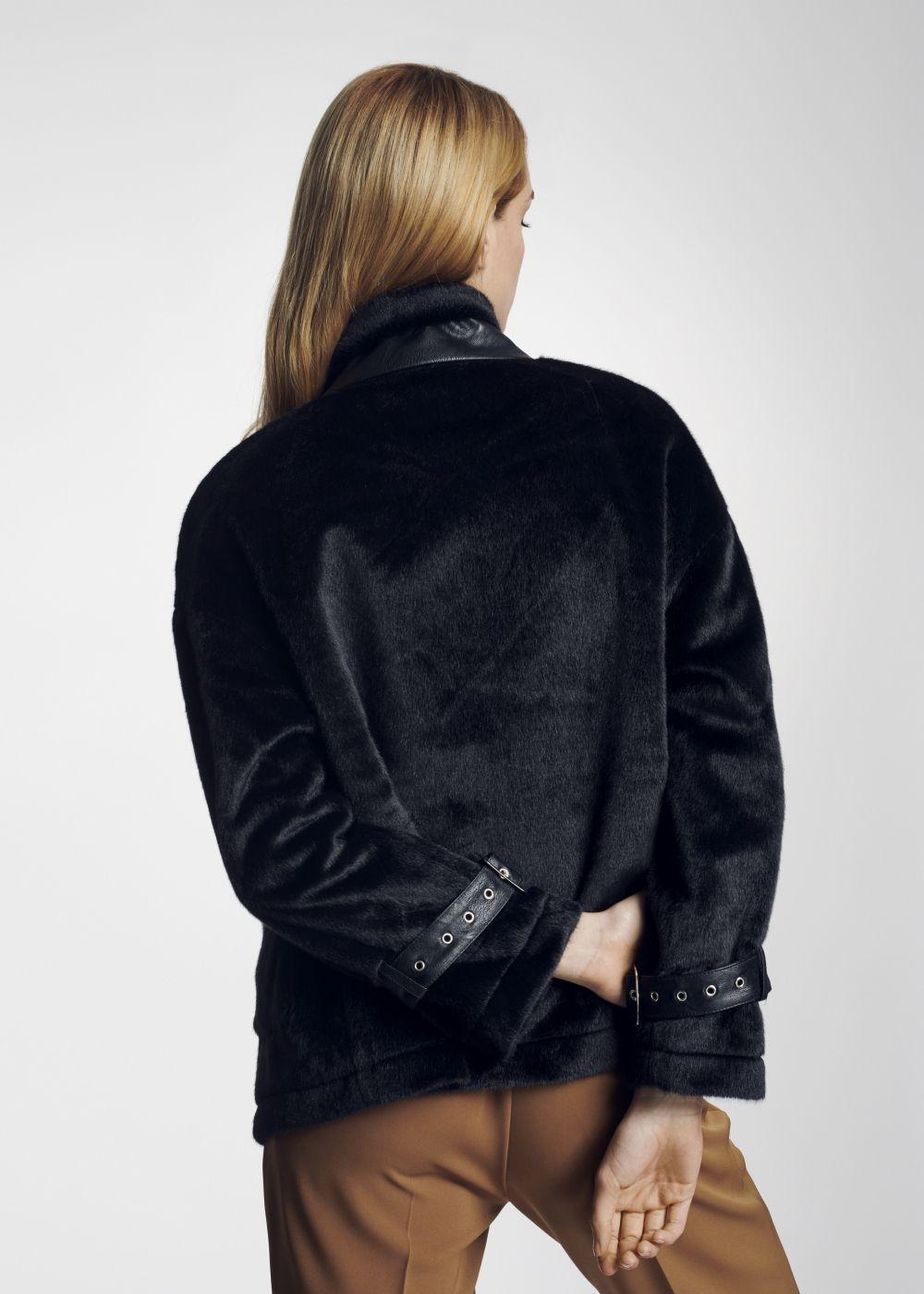 Krótkie czarne futerko damskie sztuczne FUTDT-0025-99(Z21)