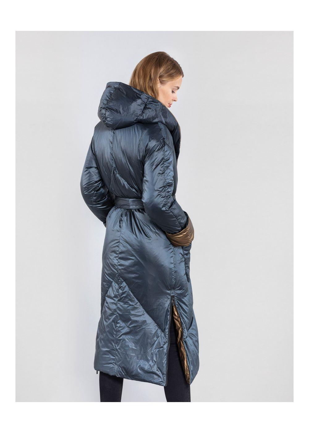 Granatowa kurtka damska z kapturem KURDT-0257-99(Z20)