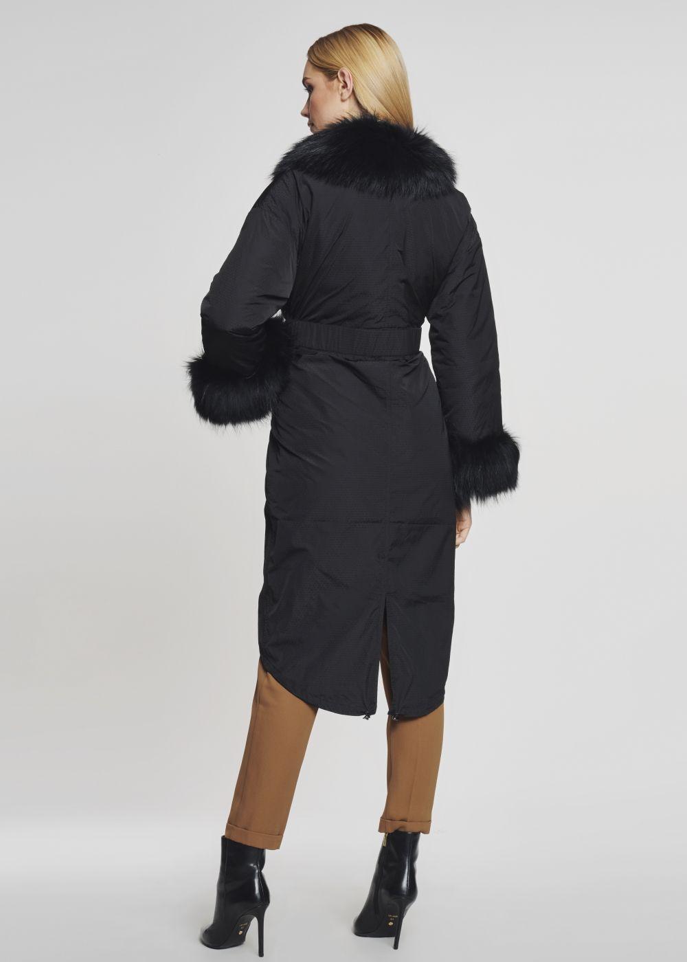 Długa zimowa kurtka damska z paskiem KURDT-0155-99(Z21)