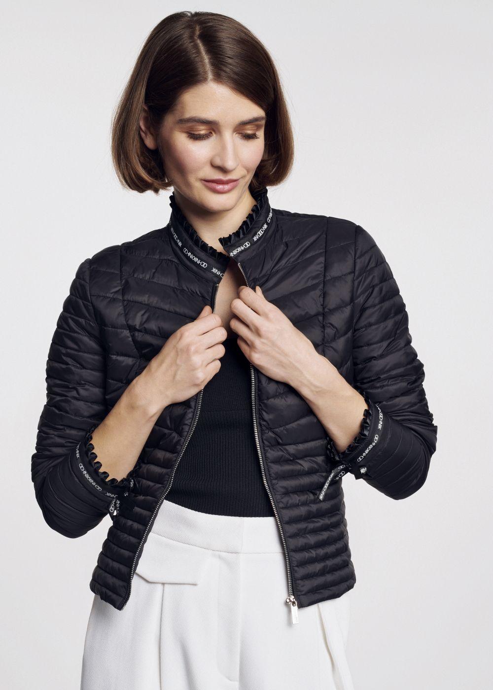 Pikowana kurtka damska z tasiemkami KURDT-0294-99(W21)
