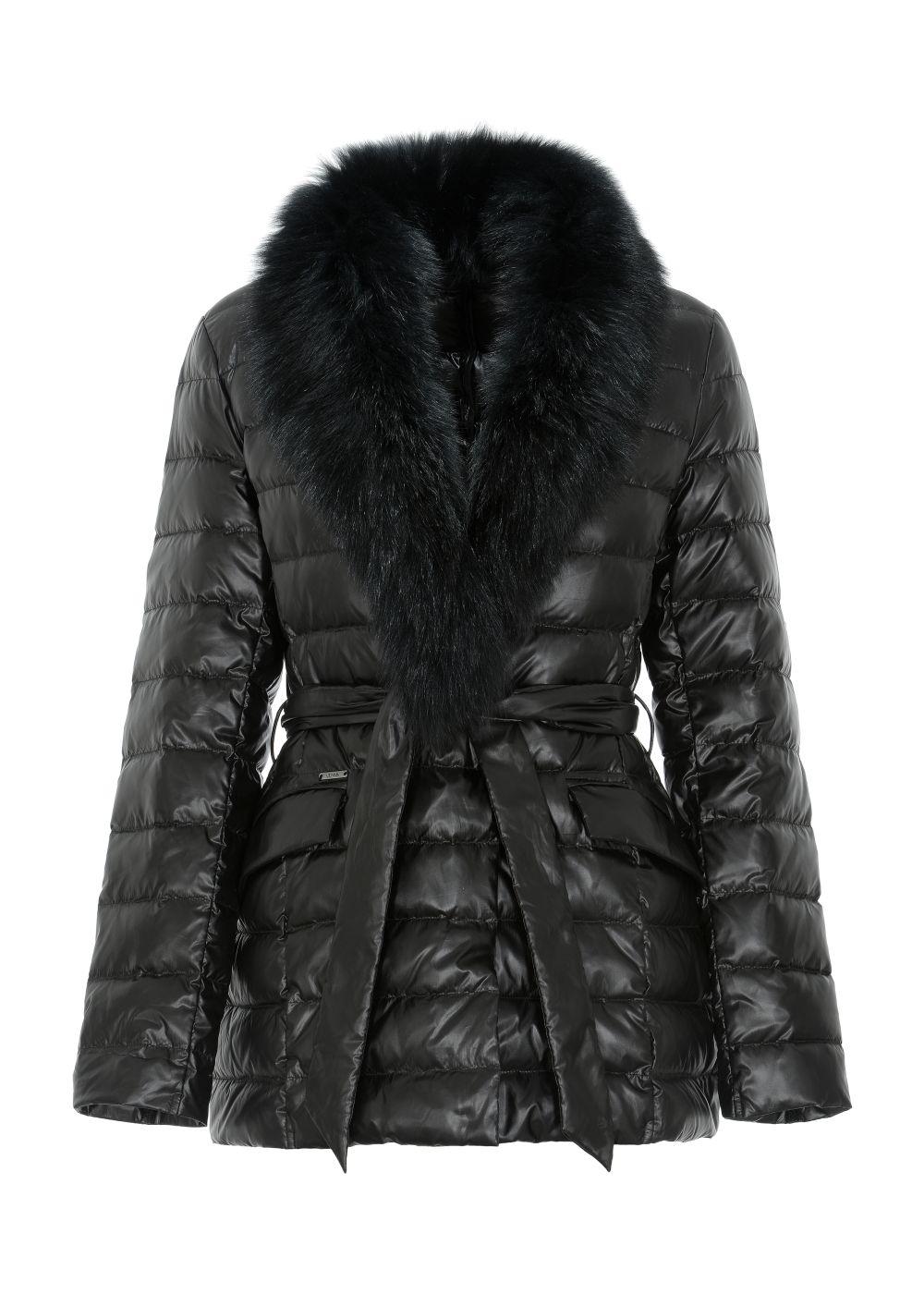 Czarna pikowana kurtka damska z paskiem KURDT-0250-99(Z20)