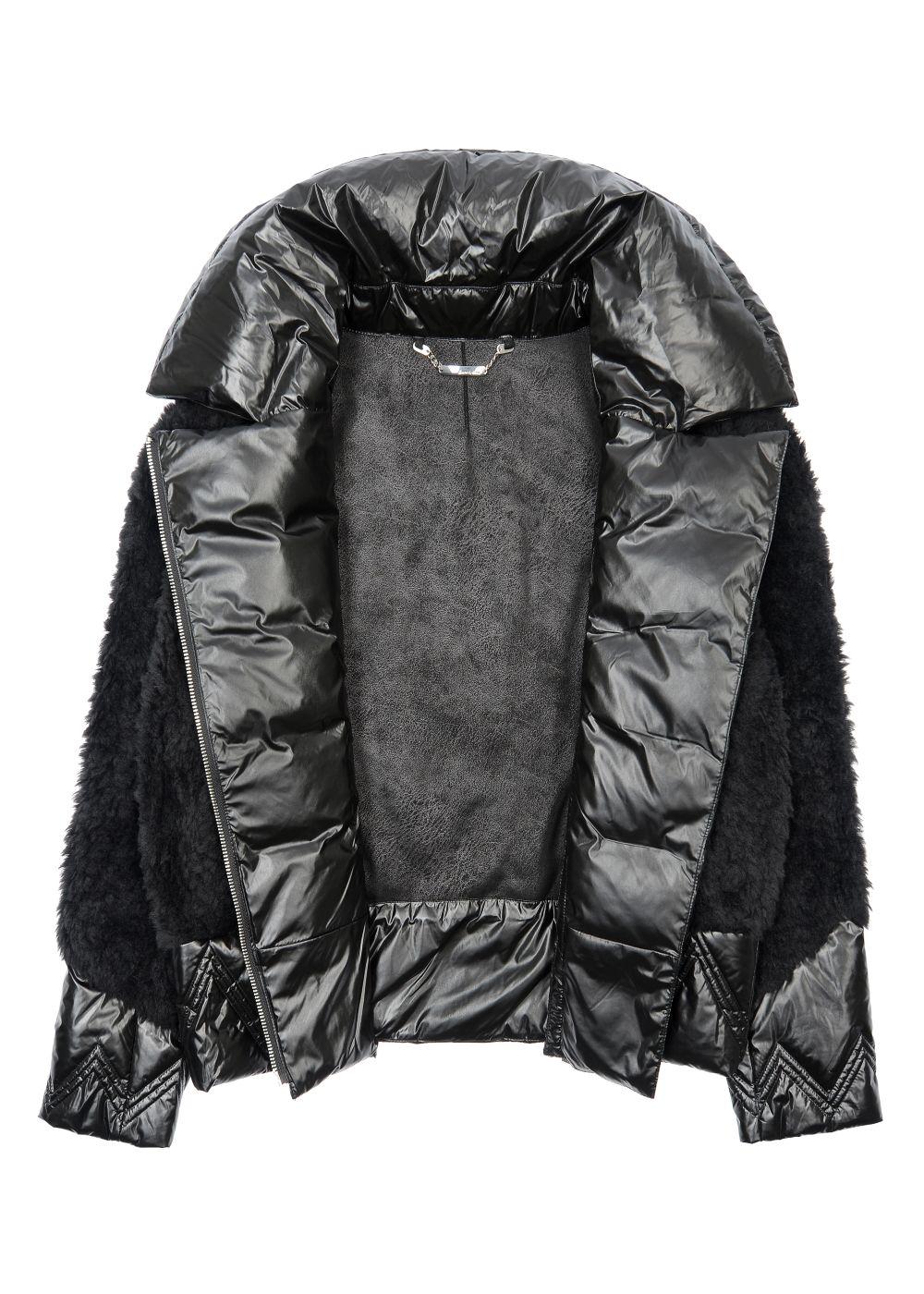 Krótkie czarne futerko damskie z wełny FUTDT-0039-99(Z20)