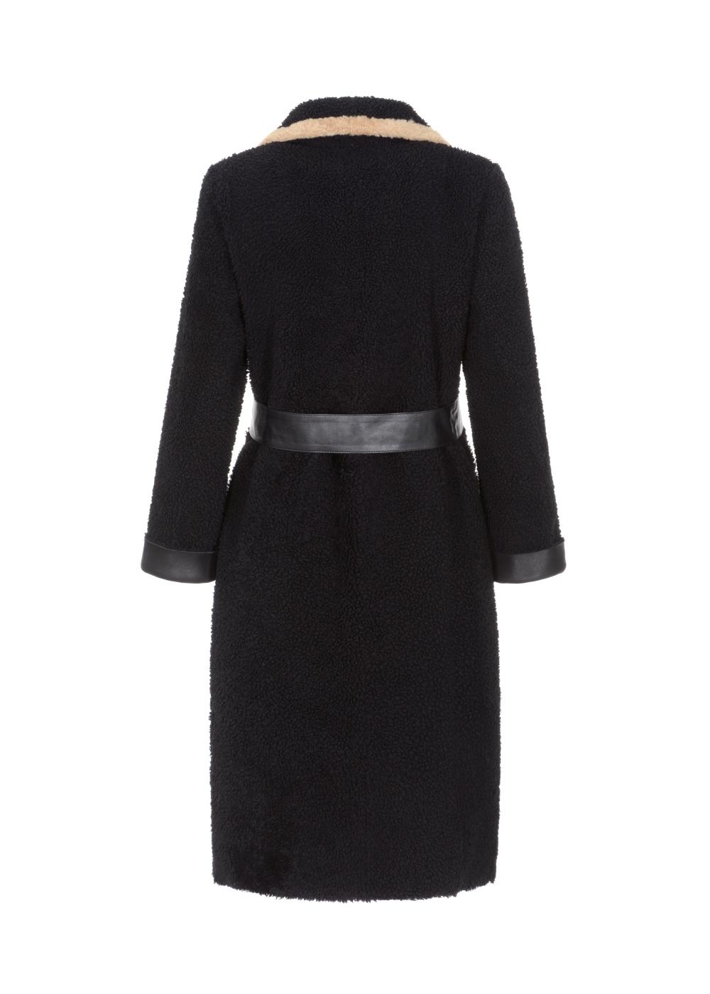 Czarny kożuch damski z beżowym wykończeniem KOZDS-0052-0999(Z21)