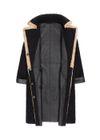Czarny kożuch damski z beżowym wykończeniem KOZDS-0052-0999(Z20)