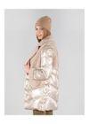 Beżowe futerko damskie z wełny i nylonu FUTDT-0041-81(Z20)