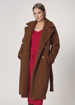 Długi brązowy płaszcz damski FUTDP-0010-89(Z21)