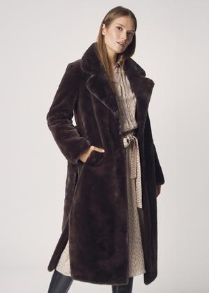 Długi płaszcz damski z paskiem FUTDP-0002-89(Z21)