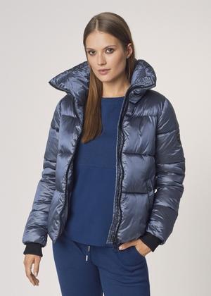 Niebieska kurtka damska ze ściągaczami KURDT-0328-91(Z21)