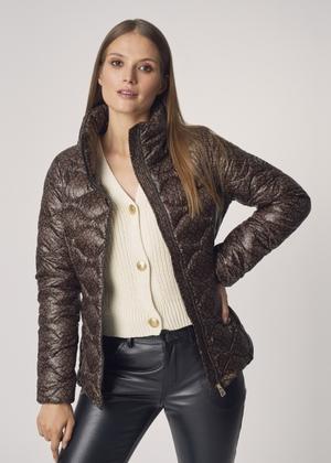 Pikowana kurtka damska z nadrukiem KURDT-0315-89(Z21)