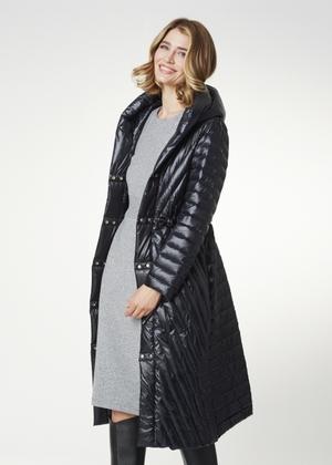 Długa jesienna kurtka damska z kapturem KURDT-0322-99(Z21)