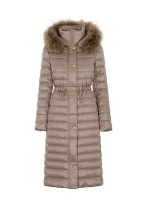 Ciepła kurtka damska w kolorze beżowym KURDT-0253-81(Z21)