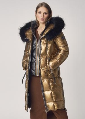 Puchowa kurtka damska z futrzanym obszyciem KURDT-0269A-28(Z21)