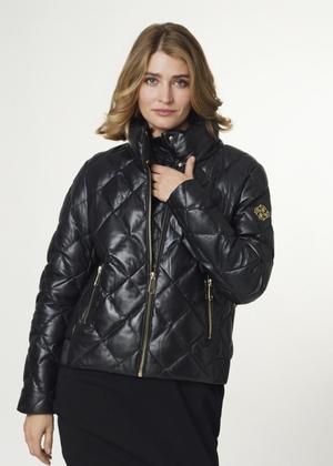 Skórzana kurtka damska z wysoką stójką KURDS-0335-5339(Z21)
