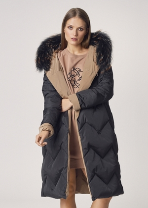 Puchowa dwustronna kurtka damska na zimę KURDT-0307-81(Z21)