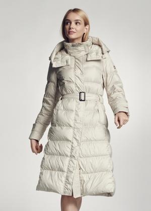 Beżowa zimowa kurtka damska z kapturem KURDT-0268-82(Z21)