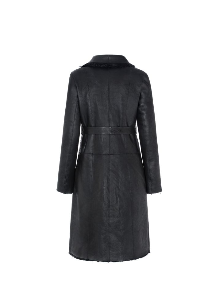 Dwustronny czarny kożuch damski z paskiem KOZDS-0043-5538(Z20)