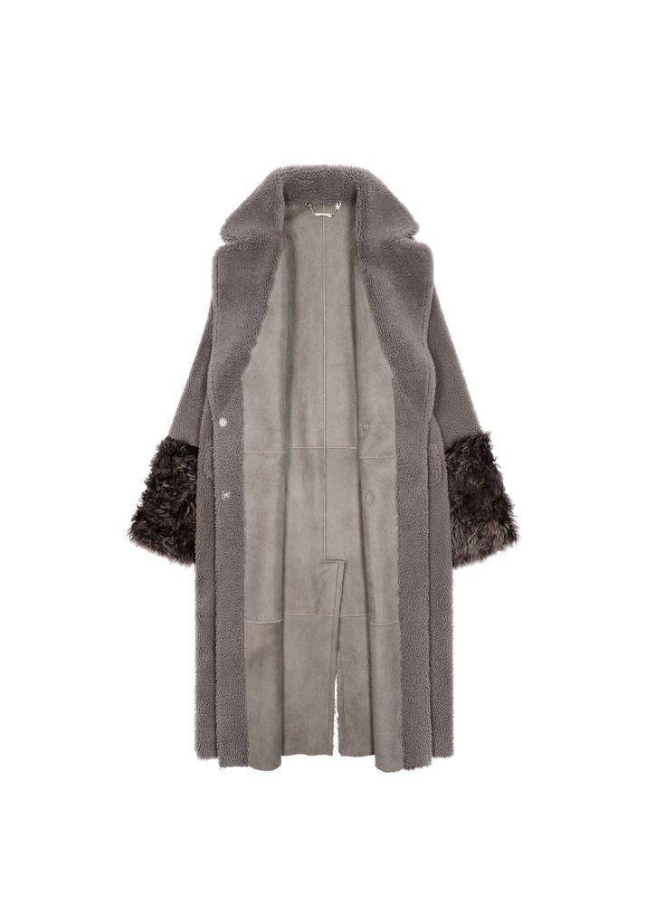 Długi kożuch damski z ozdobnym paskiem KOZDS-0046-5541(Z20)