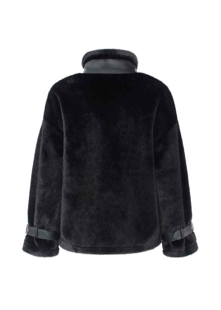 Krótkie czarne futerko damskie sztuczne FUTDT-0025-99(Z20)