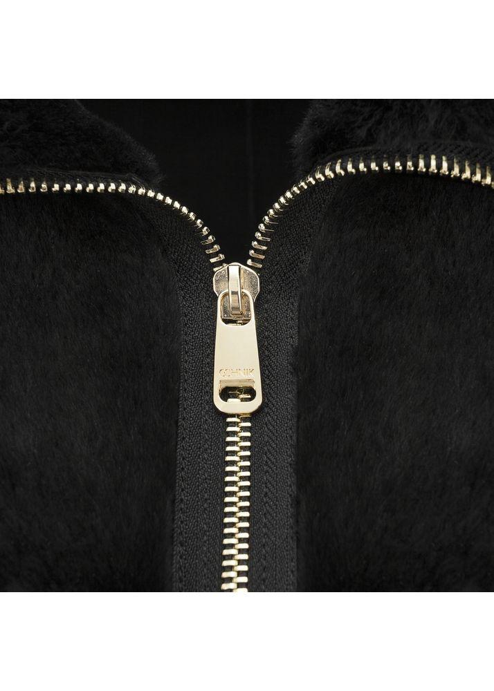 Czarny kożuch damski z owczej skóry KOZDS-0015-4132(Z19)