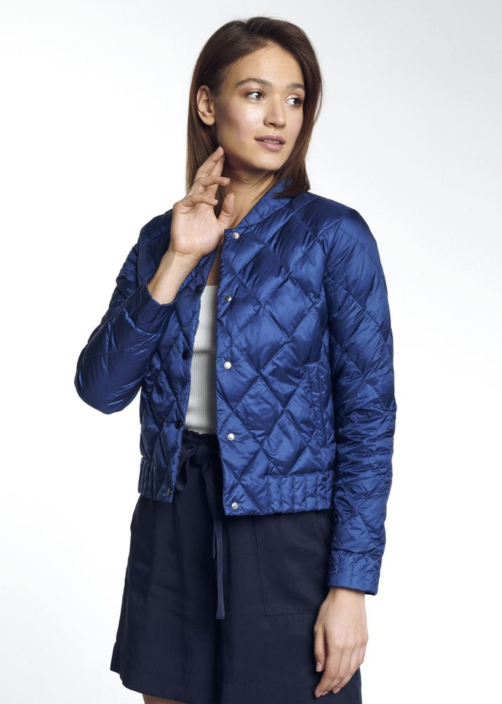 Niebieska pikowana kurtka damska KURDT-0290-69(W21)
