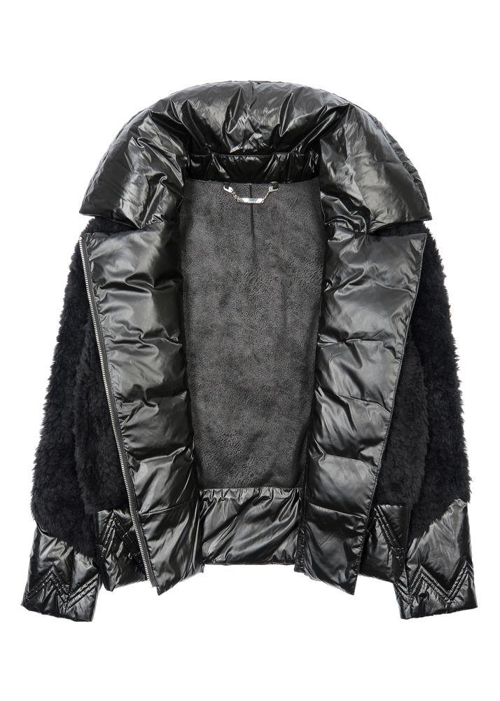 Czarne futerko damskie z wełny krótkie FUTDT-0039-99(Z20)